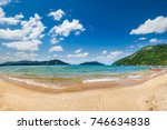 view of beach  sea and forest... | Shutterstock . vector #746634838