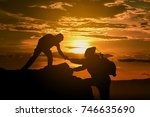 two friends helping each other... | Shutterstock . vector #746635690