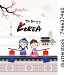 the beautiful of korea. a child ... | Shutterstock .eps vector #746637460