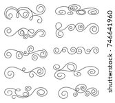 calligraphic design elements.... | Shutterstock .eps vector #746641960