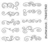 calligraphic design elements.... | Shutterstock .eps vector #746641960