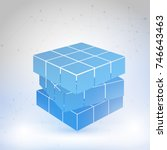 cubic constructed of many... | Shutterstock .eps vector #746643463