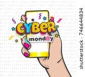 comic text shop computer sale... | Shutterstock .eps vector #746644834