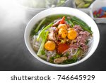 beef noodle soup with immature... | Shutterstock . vector #746645929