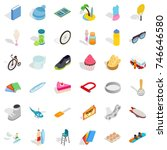 bicycle icons set. isometric... | Shutterstock .eps vector #746646580