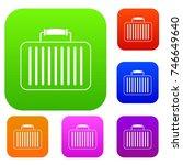 briefcase set icon color in... | Shutterstock .eps vector #746649640
