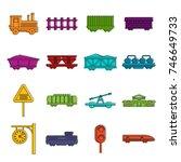 railway icons set. doodle...   Shutterstock .eps vector #746649733