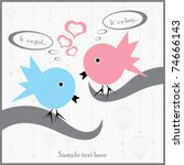 postcard with two birds  on...   Shutterstock .eps vector #74666143
