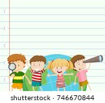 paper template with kids and... | Shutterstock .eps vector #746670844