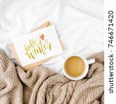 hello winter postcard and cup... | Shutterstock . vector #746671420