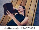 happy good looking female... | Shutterstock . vector #746675614