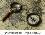 retro compass with old map and... | Shutterstock . vector #746675830