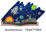 astronomy book with astronaut...   Shutterstock .eps vector #746677084