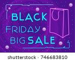 black friday  big sale  neon...   Shutterstock .eps vector #746683810