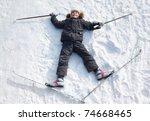 young boy lying in cross...   Shutterstock . vector #74668465