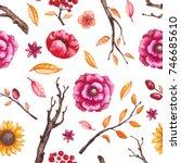 autumn seamless pattern of... | Shutterstock . vector #746685610