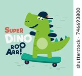 cute dinosaur rides on... | Shutterstock .eps vector #746693800