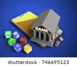 3d illustration of white phone... | Shutterstock . vector #746695123
