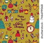 new year christmas greeting... | Shutterstock .eps vector #746699068