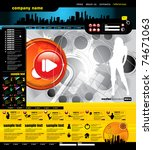 website layout with music event ... | Shutterstock .eps vector #74671063