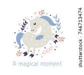 vector print. cute cartoon... | Shutterstock .eps vector #746713474