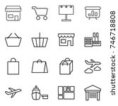 thin line icon set   shop  cart ... | Shutterstock .eps vector #746718808