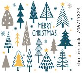 merry christmas. simple... | Shutterstock .eps vector #746719324