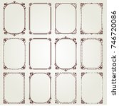 set of vintage frame with... | Shutterstock .eps vector #746720086