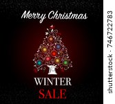 merry christmas. winter sale... | Shutterstock .eps vector #746722783