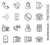 thin line icon set   phone ... | Shutterstock .eps vector #746723113