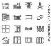thin line icon set   shop ... | Shutterstock .eps vector #746724640