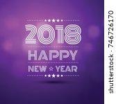 happy new year 2018 in violet... | Shutterstock .eps vector #746726170