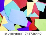 pieces of colored paper on a... | Shutterstock . vector #746726440