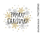 merry christmas card with... | Shutterstock .eps vector #746728960