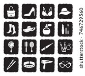 woman's accessories icons.... | Shutterstock .eps vector #746729560