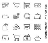 thin line icon set   shop  cart ... | Shutterstock .eps vector #746735458