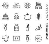 thin line icon set   atom  bio  ... | Shutterstock .eps vector #746737270