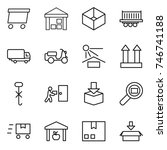 thin line icon set   delivery ... | Shutterstock .eps vector #746741188