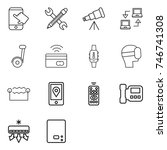 thin line icon set   touch ... | Shutterstock .eps vector #746741308