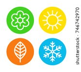 four seasons logo set. spring ... | Shutterstock .eps vector #746742970