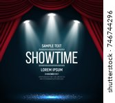 showtime banner with curtain... | Shutterstock .eps vector #746744296
