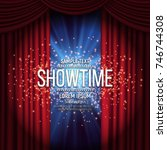 showtime banner with curtain... | Shutterstock .eps vector #746744308