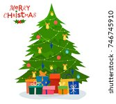 decorated christmas tree with... | Shutterstock .eps vector #746745910