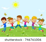 kids boys and girls jumping on... | Shutterstock .eps vector #746761006