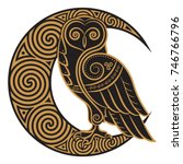 owl hand drawn in celtic style  ... | Shutterstock .eps vector #746766796