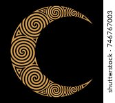 spiral celtic moon  isolated on ... | Shutterstock .eps vector #746767003