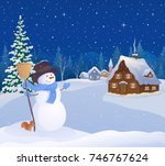 Stock vector vector cartoon drawing of a greeting snowman and a snowy christmas village 746767624