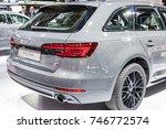 Small photo of Frankfurt, Germany, September 13, 2017: metallic graphite gray Audi A4 Avant Sport g-tron at 67th International Motor Show (IAA)
