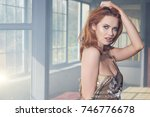 side half body portrait of... | Shutterstock . vector #746776678