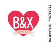 b and x letter inside heart for ... | Shutterstock .eps vector #746788018